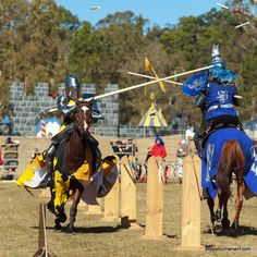 """Smash! The wood goes flying during the jousts at the Abbey Medieval Festival.  The lances are designed to shatter on impact, and the tips are replaced after each  hit or """"ataint"""".  See the jousting at the Abbey Medieval Festival on July 7 and 8.  abbeytournament.com"""