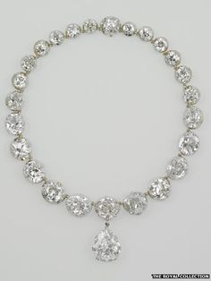 The Coronation Necklace of the Queen her majesty Elisabeth II / all coronation jewelry will be displayed to mark Jubilee
