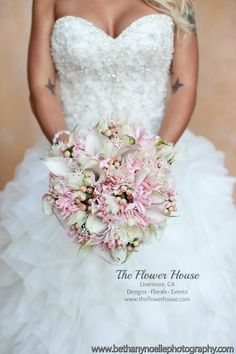 Blush pink wedding bouquet by theflowerhouse.com