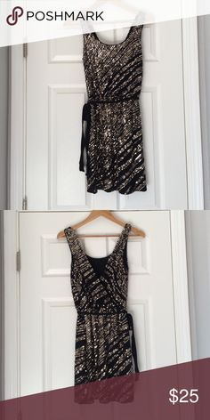 """Express black and gold sequence dress Beautiful """"going out"""" dress. Fun dress and very comfortable. Only worn once. Express Dresses Mini"""
