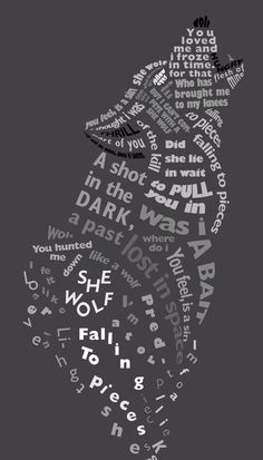 "Typography assignment based on the song lyrics of ""she wolf (falling to pieces) by David Guetta She wolf (falling to pieces) Wolf Spirit, My Spirit Animal, Fall To Pieces, Alpha Wolf, Wolf Stuff, Wolf Quotes, Wolf Wallpaper, Wolf Love, Wolf Pictures"