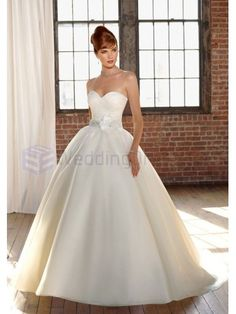 Ball Gown Organza Beaded Waist Sash and Flower Bodice Sweetheart Strapless Neckline Chapel Train Wedding Dresses