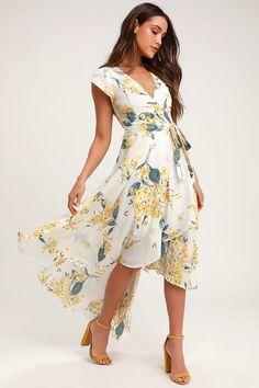 White and Yellow Floral Print Dress - High-Low Dress - Wrap Dress