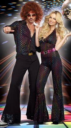 Studio 69 Disco Couples Costume, Men's Disco Stud Costume, 70s Costumes For Men, Disco Doll Costume, Disco Girl Costume, 70s Disco Costume for Women