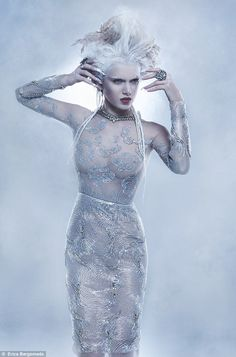 Fashion: The ice maiden stunneth Evil Princess, Ice Princess, Soft Grunge, Ice Queen Costume, High Fashion Makeup, Snow Queen, Cosplay, Gothic Girls, Fancy Dress