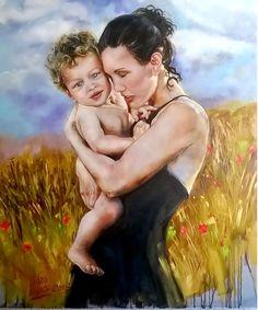 """O meu último trabalho """" AMOR DE MÃE"""" , óleo sobre tela 92x72 cm ."""