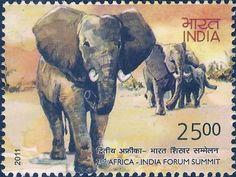 elephant postage stamp india 2011
