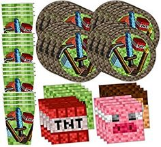 Enjoy these free printables for Minecraft parties! The collection includes: a welcome sign, invitations, cupcake toppers, banner, treat toppers, tented food cards, and water bottle labels.