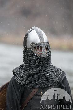 Weathered fantasy viking helmet with laser-cut visor. Available in: mild, weathered mild steel Viking Camp, Viking Life, Knights Helmet, Viking Helmet, Medieval Helmets, Medieval Armor, Larp, Vikings, Armadura Medieval