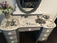 Antique desk makeover  Reverse transfer on top  See more at cahleyscreativemind.blogspot.com or Facebook.com/roguerosereproductions
