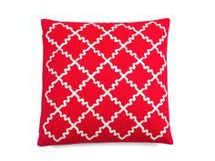 Kissen Minola 50x50 rot-weiß Raute