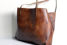 Handmade modern vintage leather big black brown tote bag shoulder bag for women