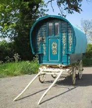Gypsy vardo. gypsywagons.co.uk Bowtop in beautiful blue. An unusual coloured waggon, nicely decorated on traditional spoked wheels. Pictures coutesy of Unkn.