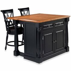 Home Styles Monarch 3-Piece Kitchen Island with Oak Top and Two Stools - BedBathandBeyond.com