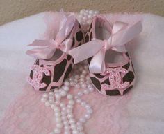 Baby crib shoes Giraffe Chanel inspired by Sassykatboutique, $15.50