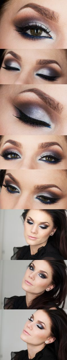 blue liner and brown eyeshadows