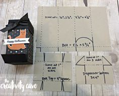 Chocolate Dispenser Cutting Guide: Check out the video tutorial showing you step by step how to create this adorable box! www.thecreativitycave.com #stampinup #thecreativitycave #handmade #box #tutorial #videotutorial #spookycat #spookynightdsp #chocolatedispenser