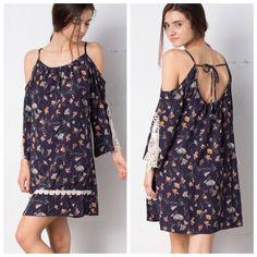 Floral Pattern Cold Shoulder Dress