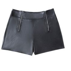 bebe Faux Leather Zip Shorts (345 BRL) ❤ liked on Polyvore featuring shorts, bottoms, faux-leather shorts, bebe, zipper shorts, bebe shorts and vegan leather shorts
