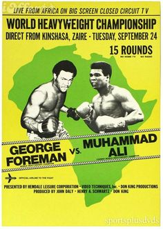 Tonight in 1974 - Muhammad Ali knocked out George Foreman in the round at Kinshasa, Zaire, in the first heavyweight championship fight ever held in Africa - it was billed as 'The Rumble In The Jungle. George Foreman, Muhammad Ali, Jungle Video, Boxe Fight, Combat Boxe, But Football, John Daly, Rumble In The Jungle, Boxing Posters