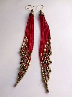 Beaded Shoulder Dusters. Native Inspired Bead Earrings. Gypsy Jewelry. Red and Gold Fringe Earrings. Tribal Jewelry on Etsy, $63.00