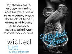 Wicked Lust ( Wicked Horse, #2) by Sawyer Bennett - #BlogTour - #Trailer - #Giveaway ($5.00 Amason Gift Card) - iScream Books