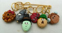 Stitch Markers OZ  for Knit or Crochet set of 6 Witch Lion Scarecrow Tin Man