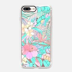 Casetify iPhone 7 Plus Case and other Pastel iPhone Covers - Pastel Island Hibiscus on transparent by Micklyn Le Feuvre | Casetify