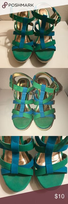 Bamboo Green Blue Wedges 7.5 Bamboo green/blue wedges. Only worn twice. Great condition. Does not include original box. Bamboo Shoes Wedges