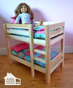 """I want to make this!  DIY Furniture Plan from Ana-White.com  Make your own doll bed for American Girl Doll or other 18"""" Doll. This sturdy wood doll bed is quick and easy and inexpensive to make. Free step by step plans to DIY a doll bed for your American Girl."""