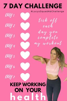 Best Ab Workout, Abs Workout For Women, Workout Videos, 7 Day Ab Challenge, 7 Day Abs, Lose Love Handles, Love Handle Workout, Lower Belly Fat, Best Gym