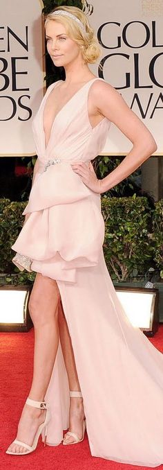 Love this high-low look by South African born actress Charlize Theron