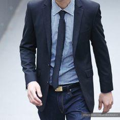 Black gingham shirt and selvedge denim #menswear #denim #mensfashion