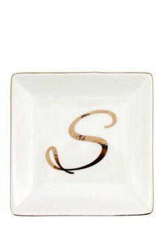 Ceramic Gold Script ''S'' Ring Dish