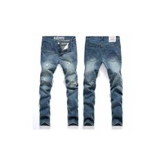 Men's Fashion Slim Fit Light Blue Denim Fabric Ripped Jeans Middle-ris ($17) ❤ liked on Polyvore featuring men's fashion, men's clothing, men's jeans, blue and jeans