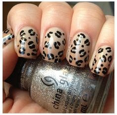 Nude ombré nails with cheetah design