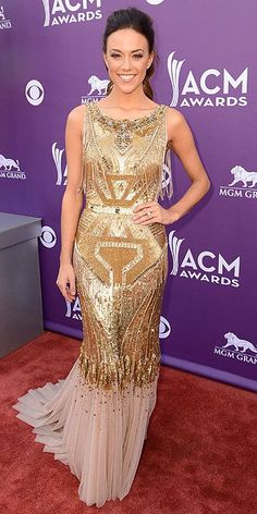 ACM Awards : Jana Kramer in Badgley Mischka Academy Of Country Music, Country Music Awards, Jana Kramer, Star Fashion, High Fashion, Women's Fashion, Style Snaps, Red Carpet Looks, Celebs