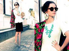 H Necklace, Top With Peplum, Topshop Skin Skirt, Yves Saint Laurent Heels