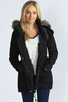 Leah Wool Mix Draw Cord Waist Parka With Faux Fur Hood at boohoo.com