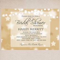 Modern Gold Bridal Shower Invitation by MemoryLanePaperie on Etsy, $18.00