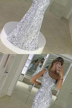 fashion one shoulder prom dress , elegant silver sequined party dress, bodycon mermaid prom dress