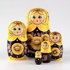 groovy yellow and brown color nesting doll!