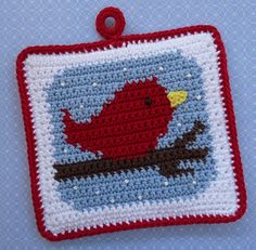 Red Bird in the Snow Potholder Crochet PATTERN - INSTANT DOWNLOAD More