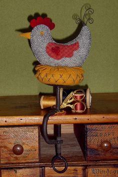 little Gray Speckled Hen makes a great folk-art Wool Applique pin cushion