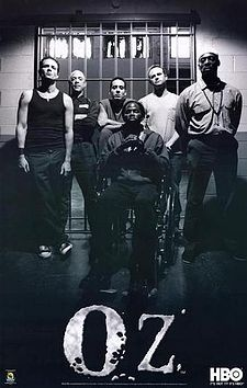 "OZ  a should about a male high security prison. fantastic acting, outstanding drama, and hot men! lots of adult content of course... anyway. it's not the typical prison show. you become attached to these characters (at least the ""good"" ones). i love this show. that's all i have to say. so much action."