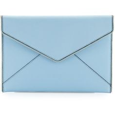 Rebecca Minkoff Leo Saffiano Envelope Clutch Bag ($100) ❤ liked on Polyvore featuring bags, handbags, clutches, sky, rebecca minkoff purse, blue clutches, flap handbags, zipper flap purse and rebecca minkoff