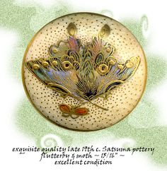 Image Copyright RC Larner ~ 19th C. Satsuma Pottery Butterfly Button ~ R C Larner Buttons at eBay & Etsy        http://stores.ebay.com/RC-LARNER-BUTTONS