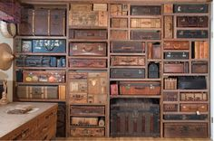 Vintage suitcases just waiting for their next adventure! Love the idea of using old friends as new storage