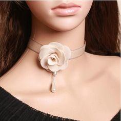 White Flower Lolita Choker Fake Collar