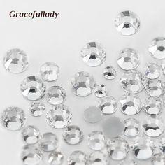 1000PCS Mix Sizes Crystal Clear Flatback Rhinestone Nail Rhinestones For Nails 3D Nails Art Decoration Stass Mix SS3-SS30 Sizes